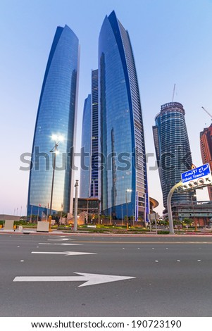 ABU DHABI, UAE - MARCH 28: Etihad Towers buildings in Abu Dhabi on March 28, 2014, UAE. Five towers complex with 74 floors is the third tallest building in Abu Dhabi.