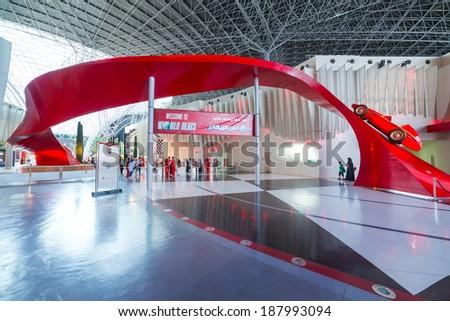 ABU DHABI, UAE - MARCH 27: Ferrari World at Yas Island in Abu Dhabi on March 27, 2014, UAE. Ferrari World is the largest indoor amusement park in the world. - stock photo