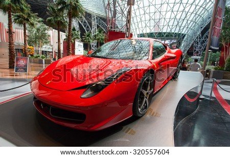ABU DHABI, UAE - MAY 13,2014: Ferrari World at Yas Island in Abu Dhabi on MAY 13, 2014, UAE. Ferrari World is the largest indoor amusement park in the world.