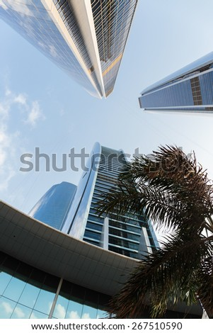 ABU DHABI, UAE - NOVEMBER 5: Modern buildings in Abu Dhabi, on November 5, 2013, Abu Dhabi, UAE. It is the capital of the United Arab Emirates.