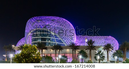 ABU DHABI, UAE - NOVEMBER 5: The Yas Marina Grand Prix Circuit night view on November 5, 2013. This is the first new hotel in the world, which was built during the F1 race circuit. - stock photo