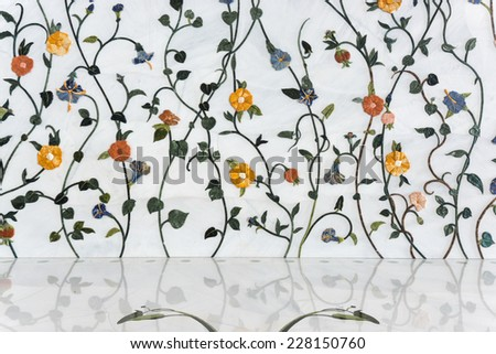 ABU DHABI, UAE - October 4, 2014: Sheikh Zayed Grand Mosque inside floral wall, Abu Dhabi, UAE - stock photo