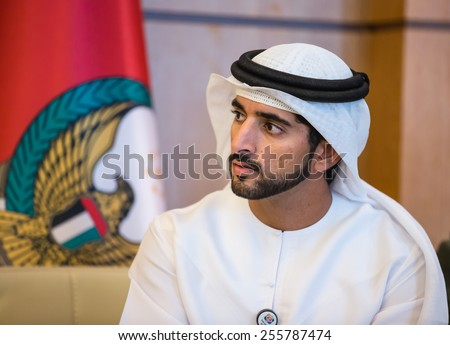 ABU DHABI, UNITED ARAB EMIRATES - Feb 24, 2015: Crown Prince of Dubai Hamdan bin Mohammed Al Maktoum during a meeting with the President of Ukraine Petro Poroshenko - stock photo