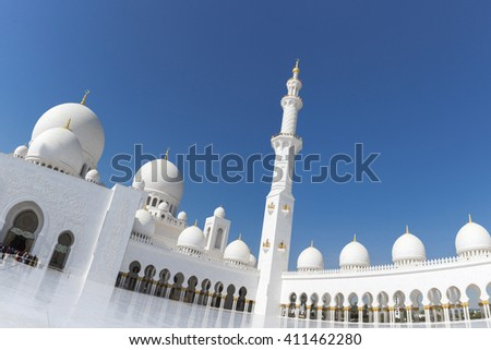 ABU DHABI, UNITED ARAB EMIRATES, JANUARY 10: Abu Dhabi Sheikh Zayed White Grand Mosque with clear blue sky. 2016