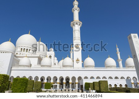 ABU DHABI, UNITED ARAB EMIRATES, JANUARY 10: Abu Dhabi Sheikh Zayed White Grand Mosque with clear blue sky in 2016