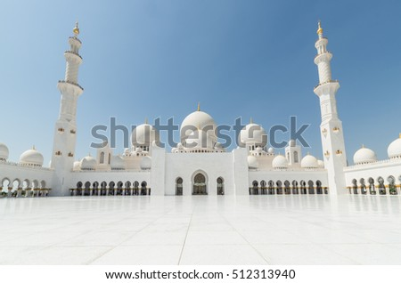 Abu Dhabi, United Arab Emirates - October 5, 2016: the main courtyard of the Sheikh Zayed Grand Mosque, which can hold 41000 worshippers. The mosque was completed in 2007.