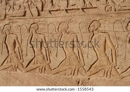 Abu Simbel relief - stock photo
