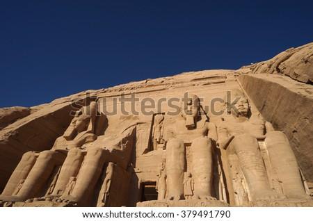 Abu Simbel temple ruins,Egypt                              - stock photo
