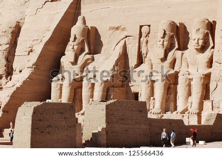 ABU SIMBLE-NOV 25: Visitor at the Abu Simbel Temple on Nov 25 2000.The number of tourists visiting Egypt dropped by more than a third since the Egyptian revolution on Jan 25 2011.