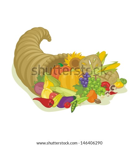 Abundance horn with various harvest fruits and vegetables - stock photo