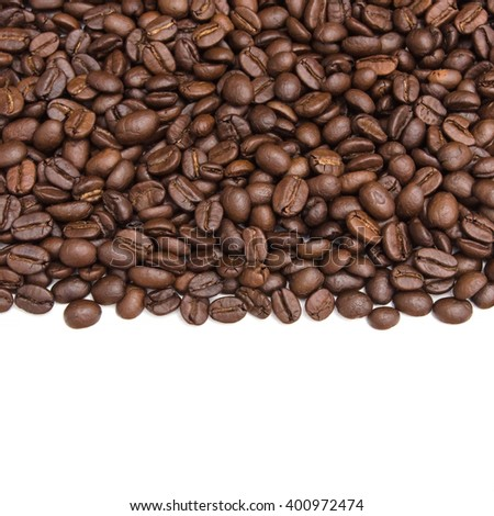 Abundance of aromatic coffee isolated on a white background. - stock photo