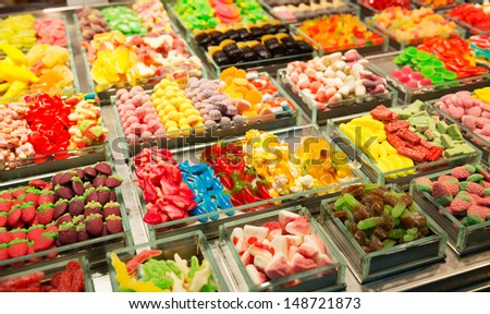 Abundance of sweets in market