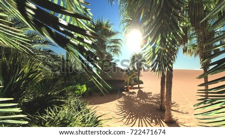 Abundant tropical plants on wilderness in the evening, 3d rendering
