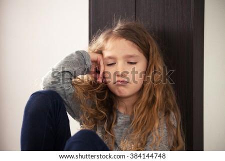 Abuse child. Depression and sad girl - stock photo