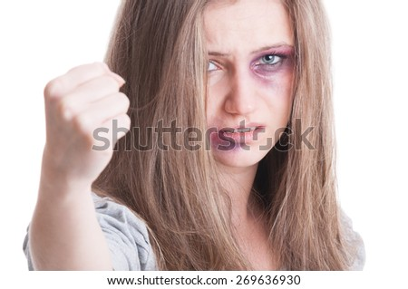 Abuse woman fighting back gesture with fist on white background - stock photo