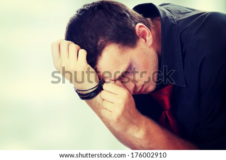 Abused young caucasian male - stock photo