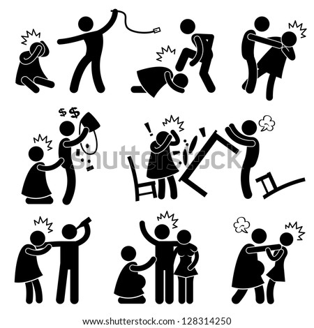 Abusive Husband Helpless Wife Stick Figure Pictogram Icon - stock photo