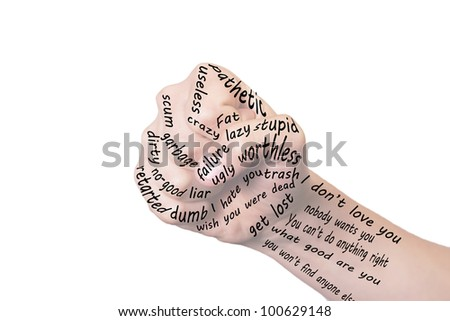abusive or bullying words in a symbolic fist shape. - stock photo