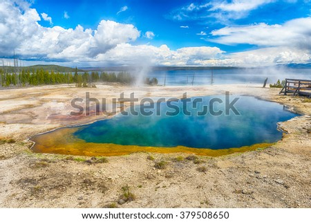 Abyss Pool, West Thumb Geyser Basin. Yellowstone National Park, Wyoming - USA - stock photo