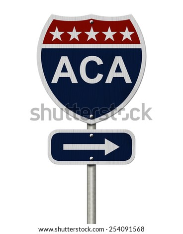 ACA Sign, A red, white and blue highway sign with words ACA and an arrow sign isolated over white - stock photo
