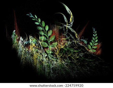 Acacia leaves and fractal - beautiful composition - stock photo