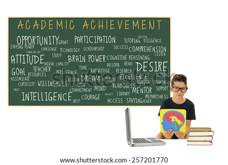 Academic Achievement Blackboard: Intelligence, Readiness, Attitude, Opportunity, Preparedness, Resources, Goal, Access, Participation, Listen, Technology, Persistence, chalkboard isolated on white - stock photo
