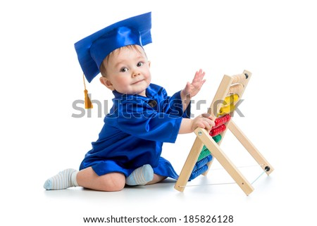 academic baby playing with abacus toy - stock photo