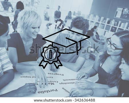 Academic Graduation Hat Successful Education Concept - stock photo