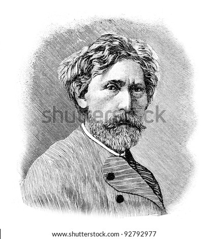 "Academician of painting Trutovsky. Engraving by Shyubler. Published in magazine ""Niva"", publishing house A.F. Marx, St. Petersburg, Russia, 1893"