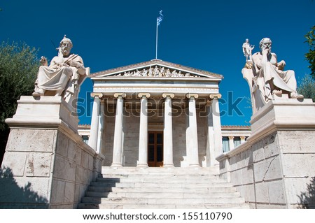 Academy of Athens with Plato and Socrates monument. . - stock photo