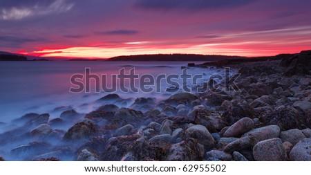 Acadia national park, schoodic head sunet low angle - stock photo