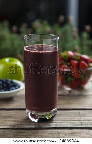 Acai, strawberry and apple smoothie - stock photo