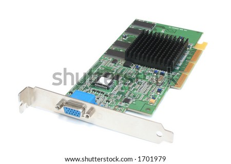 accelerated graphics card showing circuitry and socket - stock photo