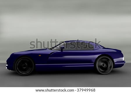 Acceleration - blue luxury executive business car - stock photo
