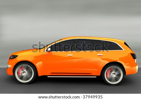 Acceleration - Orange SUV - stock photo