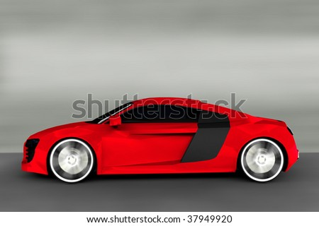 Acceleration - Red Sports Car / Sportscar - stock photo