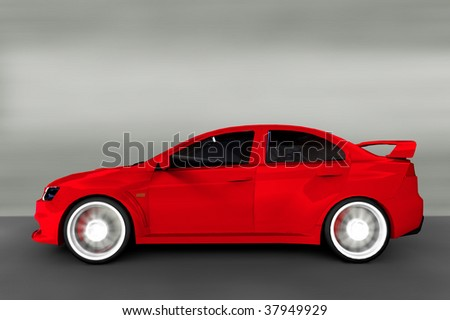 Acceleration - Red Sports Car / Sportscar hatchback - stock photo