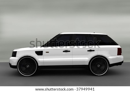 Acceleration - White Luxury Suburban 4x4 - stock photo