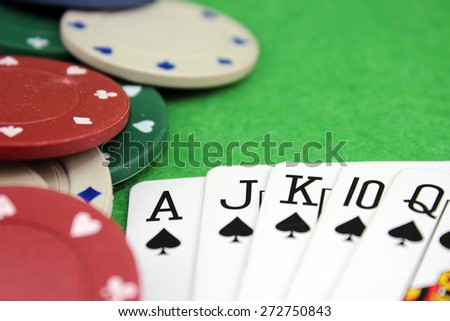 Accented poker background with unlimited depth of field