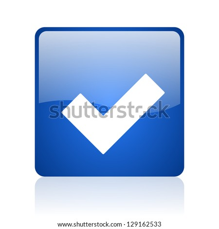 accept blue square glossy web icon on white background