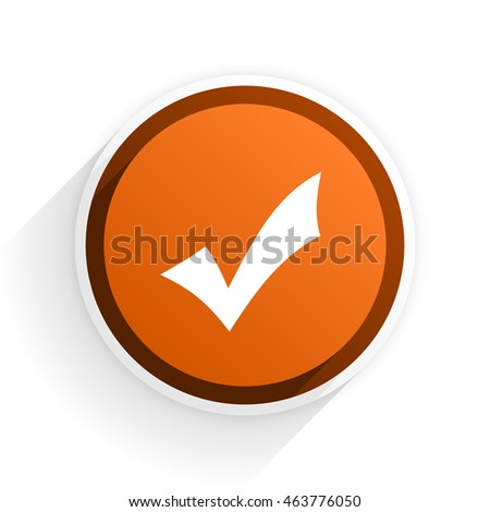 accept flat icon with shadow on white background, orange modern design web element