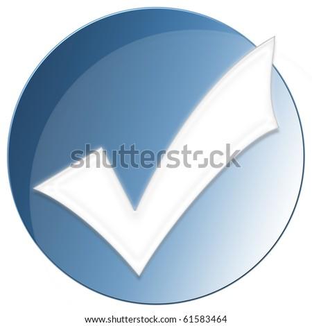 Accept Icon - blue color - stock photo