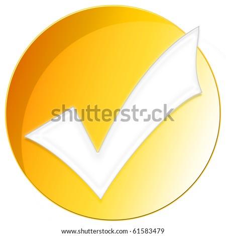 Accept Icon - orange color - stock photo