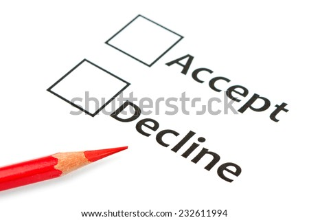 accept with a box ticked on white background  - stock photo