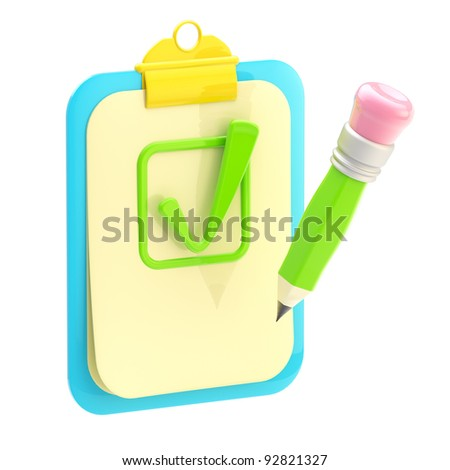 accepted: paper folder clipboard  and pencil with a yes sign isolated on white