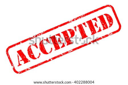 ACCEPTED red rubber stamp text on white - stock photo