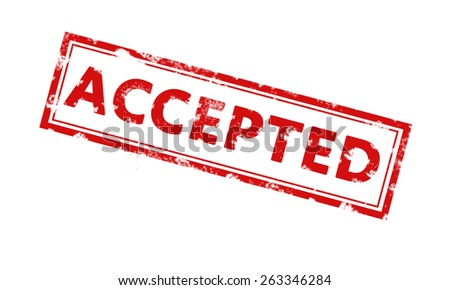 Accepted rubber stamp. Red Color. Stock Photo - stock photo