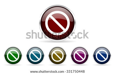 access denied colorful glossy circle web icons set