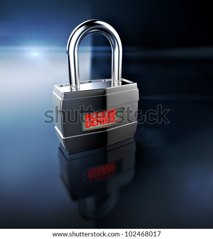 Access Denied padlock, security concept