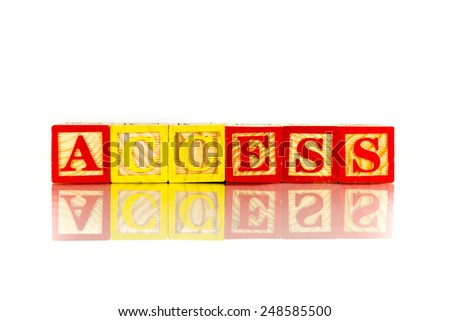 access word reflection on white background - stock photo